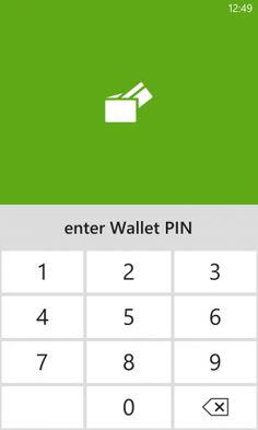 Screenshot of the mobile wallet PIN UI in Windows Wallet