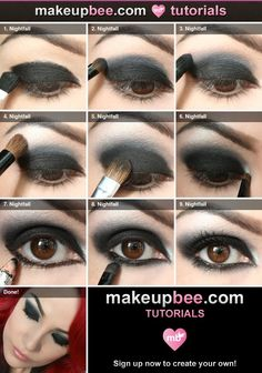 Best Ideas For Makeup Tutorials : Step-By-Step Tutorial for Nightfall black eyeshadow made easy! - Make up - Best Ideas For Makeup Tutorials : Step-By-Step Tutorial for Nightfall black eyeshadow made easy! - Make up - Gothic Makeup Tutorial, Makeup Tutorial Step By Step, Vampire Makeup Tutorial, Goth Makeup, Dark Makeup, Prom Makeup, Vampire Eyes, Make Up Tutorial Contouring, Make Up Tutorial