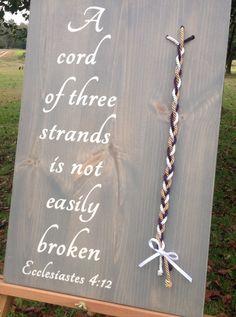 A cord of three strands, unity, colored cord,wedding unity ceremony, alternative unity symbolism, God's knot, wood wedding sign