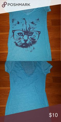🐈 Kitty shirt 🐈 🐈For all the intellectual kitties out there 🐈  🐱Sky Blue kitty with sunglasses shirt🐱 Fifth Sun Tops Tees - Short Sleeve