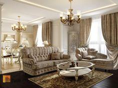 Зона гостиной в классическом стиле