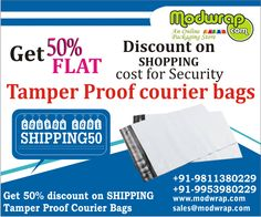 Special DISCOUNTS! Get 50% off on shopping cost for Security Tamper Proof Bags. For details visit: http://modwrap.com/security-tamper-evident-courier-bags