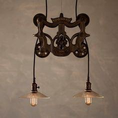 Vintage Industrial Style Pulley Lamps | fabuloushomeblog.comfabuloushomeblog.com