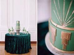 Emerald Green Art Deco Wedding Cake