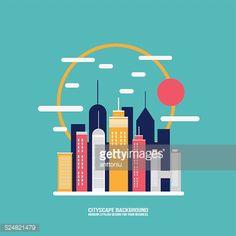 Vector Art : Cityscape background City building silhouettes Flat design