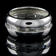 1.50ct Baguette Cut 10k Solid White Gold Channel Set Band Ring + Black Diamond #Affinitysilver #Band