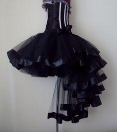 Black Burlesque Tulle Satin Bustle Tutu Skirt