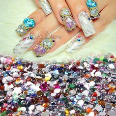 2000pcs Nail Art Mixed Shape Rhinestones Acrylic Decoration Flat back Gems #Unbranded