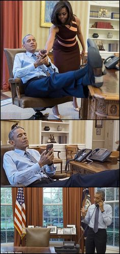 #44thPresident #BarackObama & #FirstLady #MichelleObama White House 2016 When you tell your husband to relax, but he keeps checking his phone