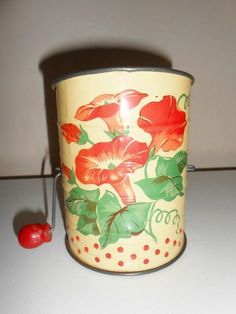 Vintage Metal Flour Sifter Yellow W/Red Morning Glory/Polka Dots-Red Wood Handle