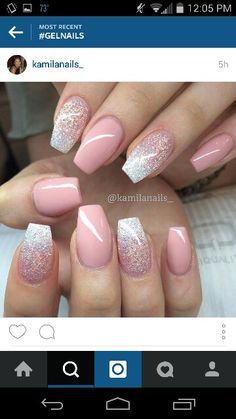 Pink and glitter color combo gorgeous nails, pretty nails, blush pink nails Pink Gel Nails, Gel Nail Art, Blush Pink Nails, Nail Nail, Nail Glue, Color Powder Nails, Pink Sparkle Nails, Gel Powder Nails, Ambre Nails