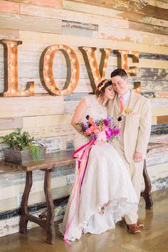 #love, #marquee-lights Photography: Nbarrett Photography - nbarrettphotography.com Read More: http://www.stylemepretty.com/2014/11/10/whimsical-dallas-loft-wedding/