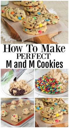 How To Make Perfect M&M Cookies - The Best M and M Cookies! - How To Make Perfect M&M Cookies – The Best Chocolate Chip Cookies! Best Picture For kids christm - Mini Desserts, Cookie Desserts, Just Desserts, Delicious Desserts, Dessert Recipes, Yummy Food, How To Make Desserts, Cheesecake Recipes, Cokies Recipes