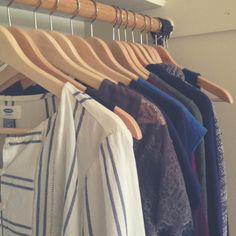 """What does a capsule wardrobe look like_ - Everything in my wardrobe can be mixed and matched. """"Almost everything is either blue, grey or purple which I feel most comfy (and look best) in."""""""