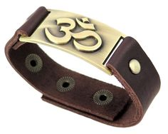 """Om Leather Bracelet, Adjustable. Luxury chocolate brown genuine leather strap width 2 cm. Length of the bracelet is 9 1/8"""" (23cm) and fit 5.75"""" to 7.75"""" (15 to 19.5cm) wrist sizes. Nickel and lead free pewter plate is 7/8 inches x 1 3/4 inches."""