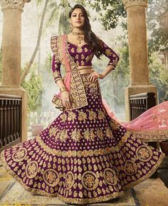 Beautiful Wine Color Silk Embroidered Lehenga Choli Add a small burst of shade to the wardrobe with this wine raw silk lehenga choli. The interesting embroidered, patch border, resham and zari work in the course of the dress is awe inspiring. Designer Bridal Lehenga, Indian Bridal Lehenga, Indian Bridal Fashion, Indian Wedding Outfits, Indian Outfits, Dress Indian Style, Indian Dresses, Indian Wear, Bridal Looks
