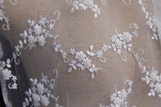 White Bridal Netting Lace Fabric with Allover by CreationsbyLSM, $33.12