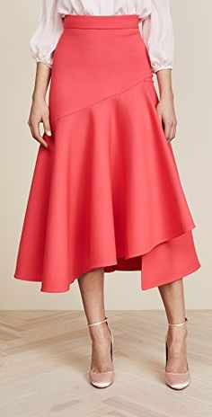 Temperley London Mercury Plain Ruffle Skirt In Pink Ruffle Skirt, Dress Skirt, Midi Skirt, Frilly Skirt, Ankara Mode, Dress Cuts, Temperley, Mode Inspiration, Red And Pink