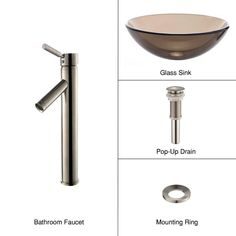 KRAUS Glass Vessel Sink in Brown with Single Hole Single-Handle High-Arc Sheven Faucet in Satin Nickel