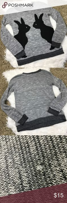 [Kirra] Bunny Sweater Different shades of gray are down throughout this sweater. Black rabbits make this sweater so cute. Crew neckline. Great condition other than snag shown in the picture. Kirra Sweaters Crew & Scoop Necks