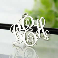 Personalized Silver Vine Font Initial Monogram Necklace
