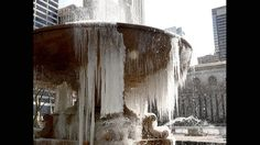 The Josephine Shaw Lowell Memorial Fountain in Bryant Park is covered in ice on March 13, 2017 as the weather continues to be below freezing. The northeastern United States braced Monday for Winter Storm Stella, which meteorologists predict could be the worst winter storm of the season, with blizzards feared to dump knee-high snow on New York.(Timothy A. Clary/AFP/Getty Images)
