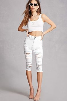 Distressed White Capri Pants