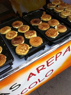 Arepa de Choclo. Street food in Colombia. Choclo is yellow corn. (sweet).