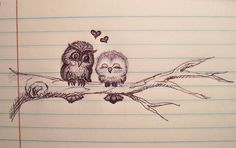 owls in love. how adorable...would be cute if you left a little more room on the branch for little baby owls to represent the little ones!  hmmm, food for thought!