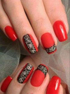 43 Most Sexy And Beautiful Short Red Nails Design (acrylic Nails, Matte Nails) For Fall And Winter - Nails Idea 22 ❤ ❤ ❤ ❤ ❤ ❤ ❤ ❤ ❤ ❤❤ Hope you like these red nails collection ! Red Nail Designs, Acrylic Nail Designs, Acrylic Nails, Coffin Nails, Short Red Nails, Red Nail Art, Red Art, Lace Nails, Lace Nail Art