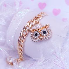 Owl Charm Link Bracelet