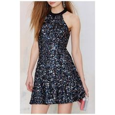 Sexy Halter Sleeveless Open-Back Sequined Mini A-Line Night Club Dress (€35) ❤ liked on Polyvore featuring dresses, sexy dresses, sexy sequin dresses, sequined dress, short cocktail dresses and short dresses
