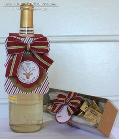 Very Merry Tags Wine Tag and Gift Box by - Cards and Paper Crafts at Splitcoaststampers Diy Holiday Gifts, Christmas Gift Tags, Christmas Paper, Christmas Projects, Christmas Ideas, Christams Gifts, Wine Bottle Tags, Wine Tags, Bottle Labels