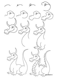 Easy dragons best ideas about easy dragon drawings on chinese dragon Cartoon Drawings, Animal Drawings, Drawing Sketches, Art Drawings, Sketching, Easy Drawing Steps, Step By Step Drawing, Drawing Lessons, Drawing Techniques