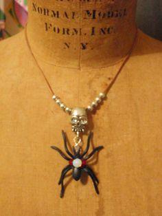 sPiDeR Jewelry...  Spider & Skull Necklace...  by Beadgarden55, $18.00
