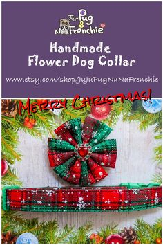 Your place to buy and sell all things handmade Plaid Dog Collars, Dog Collar Boy, Girl Dog Collars, Puppy Collars, Etsy Christmas, Christmas Dog, Big Dog Little Dog, Dog Pin, Large Dog Breeds