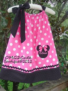 Minnie Mouse Pillow Case Dress or Shirt-PINK-  2 tie options- with FREE Name on Etsy, $29.95