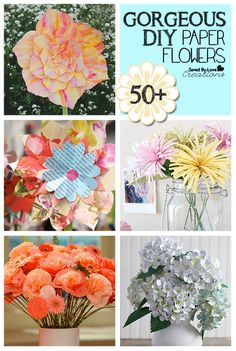 Whether you are decorating for a DIY Wedding, spring our summer party, or simply want to make your space more beautiful, this roundup of DIY paper flower tutorials is a great place to start! Paper Flower Tutorial, Paper Flowers Diy, Paper Roses, Handmade Flowers, Flower Crafts, Diy Paper, Fabric Flowers, Paper Crafts, Diy Crafts