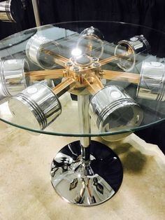 Continental R670 Radial Engine table. copper plated steel & hand polished aluminum on a height adj. chrome base 30inch dia. glass. One of a kind. Ships world wide contact for shipping details. Other tables available. Contact for custom builds. Repurposenmotion@yahoo.com MD Solheim 218-390-0467