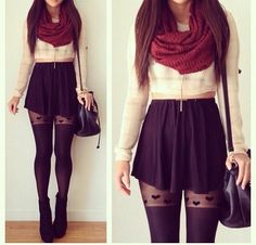 red scarf and black skirt outfit