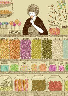 Illustration Noel, Japanese Illustration, Dessert Illustration, Art Magique, Candy Cards, The Draw, Candy Shop, Grafik Design, Food Illustrations