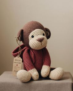 crochet teddy bear pattern Very cute monkey that should be added to your amigurumi collection. Pattern is written in English language. It's really easy to make. The pattern i Crochet Bear Patterns, Crochet Teddy Bear Pattern, Crochet Bunny, Cute Crochet, Amigurumi Patterns, Crochet Dolls, Amigurumi Doll, Crochet Animals, Crochet Pikachu