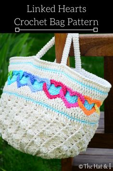 Linked Hearts Crochet Bag Pattern. Etsy Download. #affiliate #etsy #crochetpattern