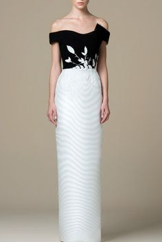 SK by Saiid Kobeisy Black and White Off Shoulder Column Gown SK 42   Poshare Black And White Evening Dresses, White Evening Gowns, White Dress, Off Shoulder Gown, White Off Shoulder, Black White Red, Black Tie, Groom Wedding Dress, Wedding Dresses