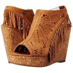 Not Rated Fringe Delight (Tan) Women's Wedge Shoes ($48) ❤ liked on Polyvore featuring shoes, sandals, tan, peep toe sandals, wedge sandals, tan sandals, tan platform sandals and cork sandals