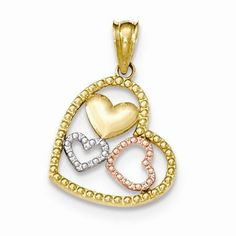 14k Two Tone Gold Textured Heart Pendant