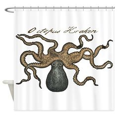 Octopus Kraken vintage scientific illustration Shower curtain  #krakensshowercurtainglam  #octopusshowercurtainglam