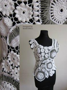 White Irish Crochet Top Freeform Crochet Lace Women by MARTINELI
