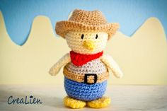 Instant Download Crochet pattern PDF Cowboy Billy  by CreaLien duck toy