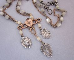 Sterling Silver Religious Charm Necklace with Rosary Beads - One of a Kind by jryendesigns